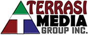 "Terrasi Media Group, Inc. full color logo with Red, Green and Blue colors around center ""T"""
